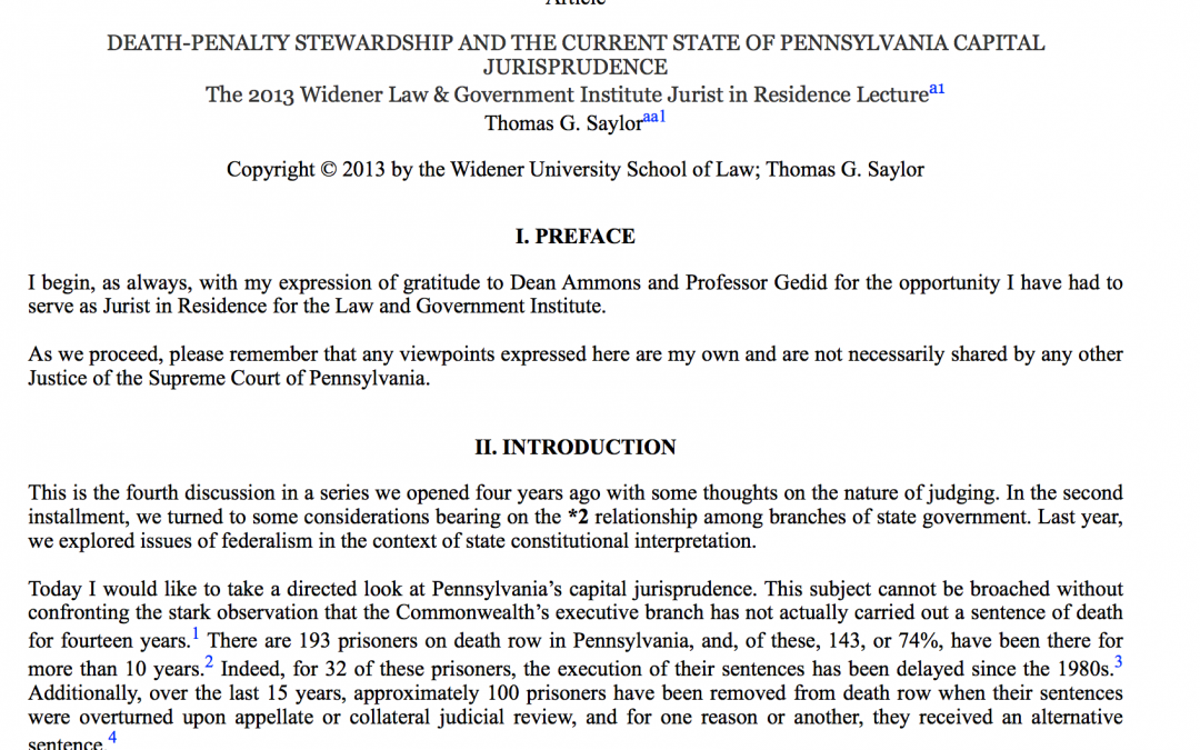 DEATH-PENALTY STEWARDSHIP AND THE CURRENT STATE OF PENNSYLVANIA CAPITALJURISPRUDENCE