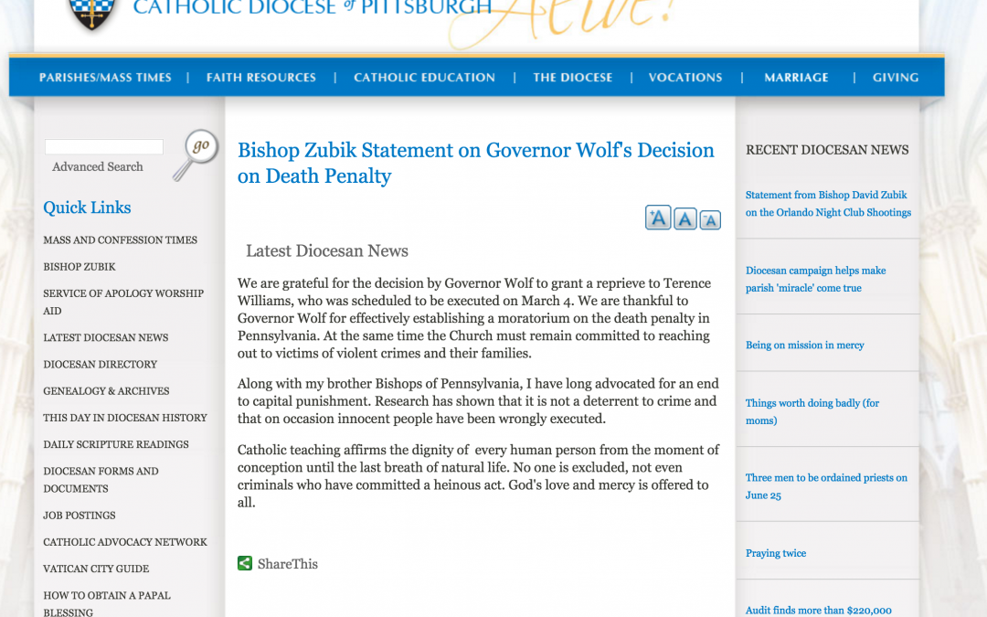 Bishop Zubik Statement on Governor Wolf's Decision on Death Penalty